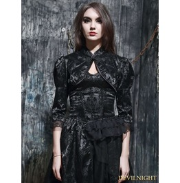 Black Gothic Chinese Style Bubble Sleeves Short Cape M080012