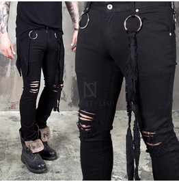 Distressed O Ring Strap Black Slim Jeans 290