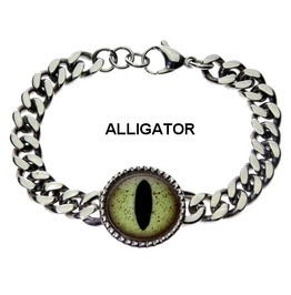 Men's Striking Glass Eye Chain Link Bracelet With 21 Animal Or Fantasy Eyes