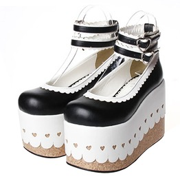 Japanese Classic Black White Super Thick Platform Lace Trim Lolita Shoes