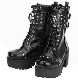 Gothic Punk Rock Rivet Skull Lace Up Platform Lolita Boots