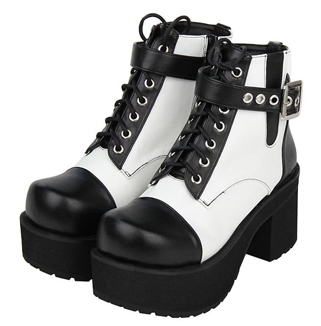 b64b17601d2 Black White Buckle Strap Lace Up Platform Gothic Punk Lolita Ankle Boots