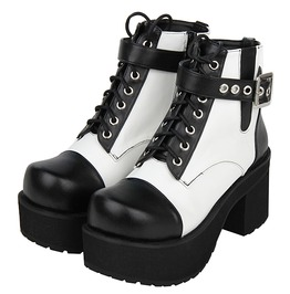 Black White Buckle Strap Lace Up Platform Gothic Punk Lolita Ankle Boots