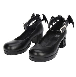 Devil's Wing 6cm Block Heel Ankle Strap Black Gothic Punk Lolita Shoes
