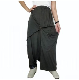 Green Apocalyptic Drop Crotch,Wrap Skirt/Pant Gothic Style Pants P78