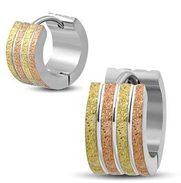 7mm Stainless Steel Tricolor Sandblasted Stripe Grooved Huggie Earring Pair