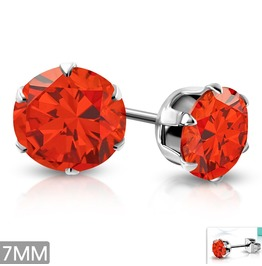 7mm Stainless Steel Prong Set Round Stud Earrings W Orange Hyacinth Cz Pair