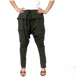 Green Unisex Ninja Gaucho Pants,Apocalyptic Drop Crotch Trousers