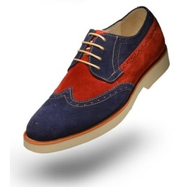 Men Two Tone Suede Leather Shoes, Men Derby Red And Navy Crepe Sole Shoes