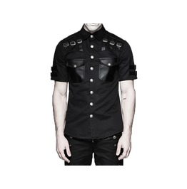 Mens Punk Summer Shirt Military Style Short Sleeve Gothic Black Shirt