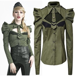 Women Olive Green Uniform Military Style Puff Sleeve Women Blouse Shirt