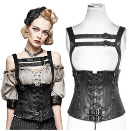 Women Black Synthetic Leather Waistcoat Top Gothic Women Corsage Vest With