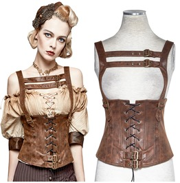Women Brown Synthetic Leather Waistcoat Top Gothic Women Corsage Vest With