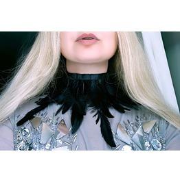 Gothic Feather Choker Boho Chic Bohemian Necklace Burlesque Collar Black