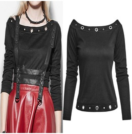 Women Casual Long Sleeve Top Gothic Punk Women Shirt Top With Rivets
