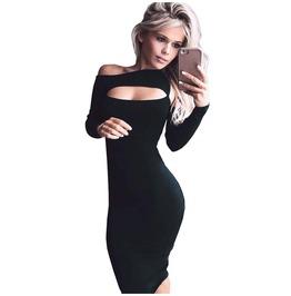 Sexy Hollow Out Irregular Elegant Dresses Long Sleeve Off Shoulder