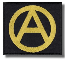 Anarchy Symbol Gold Embroidered Patch, 3,2 X 3,2 Inch