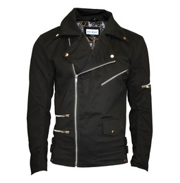 Unisex Black Zip Up Biker Racing Style Classic Jacket With Zip Detailing