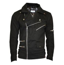 Unisex Black Zip Up Biker Racing Style Classic Jacket With Zip Detailing