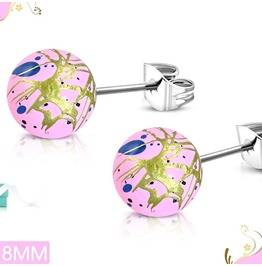 8mm Art Paint Pink Acrylic Bead Ball W/ Stainless Steel Stud Earrings Pair