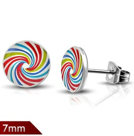 7mm Stainless Steel Spiral Rainbow Color Circle Stud Earrings Pair