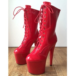 Rtbu Denzel 20cm Platform Calf Lace Up Show Boot Fetish Bdsm Red Patent
