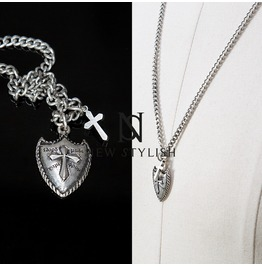 Cross Shield Charm Metal Chain Necklace 62