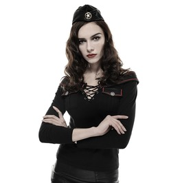 Women Military Uniform Gothic Captain Nowwhere Shirt Long Sleeve Top