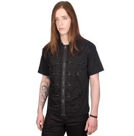 Gothic Mens Pistol Chain Shirt Black Denim Goth Punk Short Sleeve Shirt