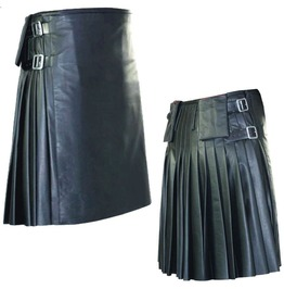 Unisex Gothic Leather Kilt Black Goth Kilt Skirt With Pockets