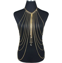 Punk Rock Gold Body Jewelry Multi Layer Chain Harness Necklace