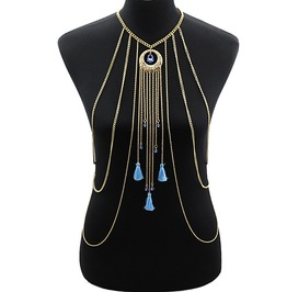Rhinestone Tassel Women Chain Necklace Boho Fashion Jewelry