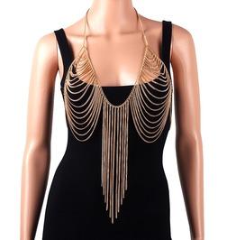 Body Belly Silver Gold Beach Chain Bra Wear Slave Harness Necklace Tassel