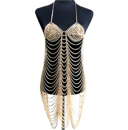 Punk Rock Bra Dress Full Body Chain Harness Jewelry
