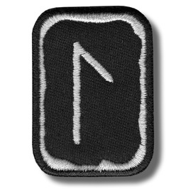 Laguz Rune Embroidered Patch, 4 X 5 Cm..