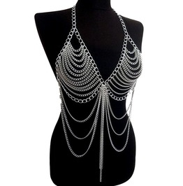 Punk Rock Alloy Chain Bra Long Body Necklace Jewelry