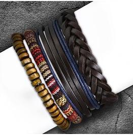 4 Bracelet Wood Stretch Beads Wrap Braided Multi Color Adjustable Bracelets