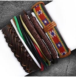 4 Bracelets Set Fashion Braided Multi Color Wrap Rope Adjustable Leather