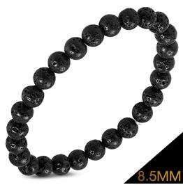8.5mm Fashion Black Coral Beads Stretch Boho Style Bohemian Bracelet