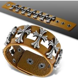 Genuine Light Brown Leather Fleur De Lis Flower Cross Wristband Bracelet