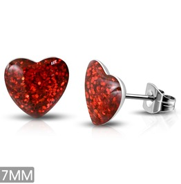 7mm Stainless Steel Red Druzy Crystal Love Heart Stud Earrings Pair