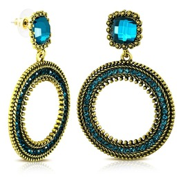 Fashion Vintage Style Costume Drop Dangle Stud Earrings With Blue Zircon Cz
