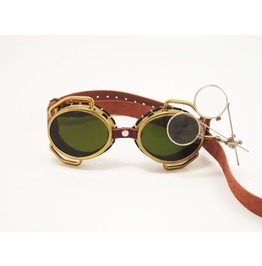 Steampunk Goggles Solid Brass With Flip Down Magnifiers And Conduits