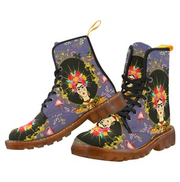 Frida Kahlo With Pink Flamingos Purple Canvas Boots