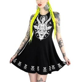 Black Gothic Goat Sleeveless Dress