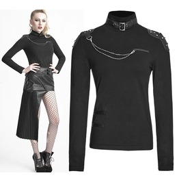 Women Gothic Shirt Punk Black Goth Neck Strap With Studs Chains Top Shirt