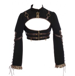 Women Black Steampunk Long Sleeves Bolero Jacket Gothic Brown Straps Lace S