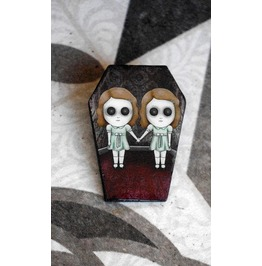 The Grady Twins Coffin Shaped Pin. Wooden Goth Brooch. Shining Film.