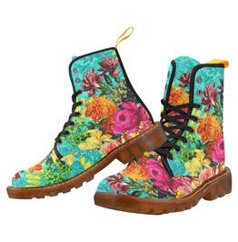 Funky Vintage Floral Aqua Damask Style Canvas Combat Boots