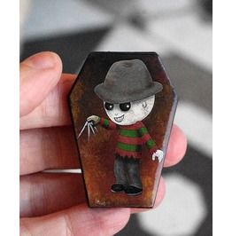 Freddy Krueger Coffin Shaped Pin. Wooden Brooch. A Nightmare On Elm Street